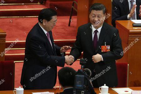 Stock Picture of Xi Jinping and Zhang Dejiang