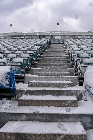 Brian Moore Stand (away supporters end) covered in snow ahead of the EFL Sky Bet League 1 match between Gillingham and Blackburn Rovers at the MEMS Priestfield Stadium, Gillingham. Picture by Martin Cole