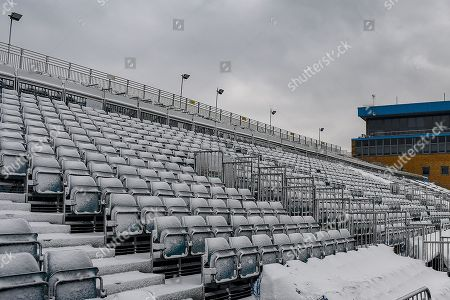 The Brian Moore Stand (away supporters end) covered in snow ahead of the EFL Sky Bet League 1 match between Gillingham and Blackburn Rovers at the MEMS Priestfield Stadium, Gillingham. Picture by Martin Cole