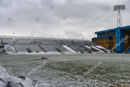 Stock Picture of General view of the Brian Moore Stand covered in snow ahead of the EFL Sky Bet League 1 match between Gillingham and Blackburn Rovers at the MEMS Priestfield Stadium, Gillingham. Picture by Martin Cole