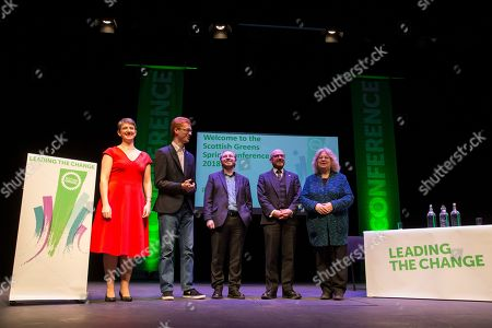 Maggie Chapman, Scottish Greens Co-Convenor, Ross Greer MSP, Steven Agnew MLA, Leader of the Green Party in Northern Ireland, Patrick Harvie MSP, Scottish Greens Co-Convenor, and Jean Lambert MEP