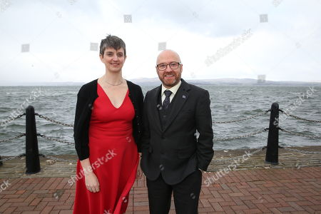 Stock Photo of Maggie Chapman and Patrick Harvie MSP, Scottish Greens Co-Convenors, by the River Clyde outside the conference venue