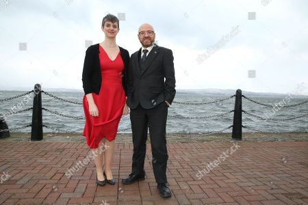 Stock Image of Maggie Chapman and Patrick Harvie MSP, Scottish Greens Co-Convenors, by the River Clyde outside the conference venue