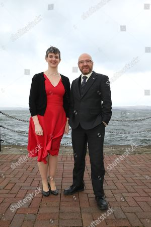 Maggie Chapman and Patrick Harvie MSP, Scottish Greens Co-Convenors, by the River Clyde outside the conference venue