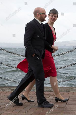 Stock Picture of Patrick Harvie MSP and Maggie Chapman, Scottish Greens Co-Convenors, by the River Clyde outside the conference venue