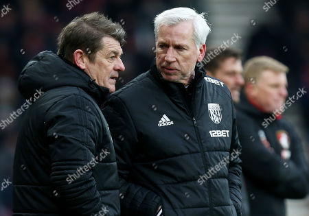 West Bromwich Albion Manager Alan Pardew and First Team Coach John Carver.