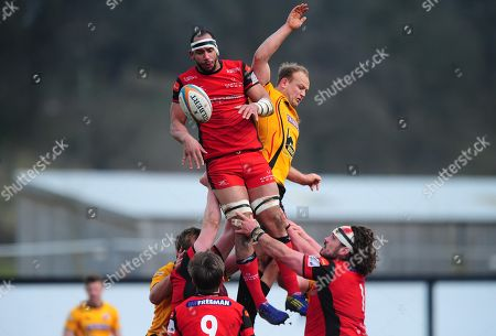 Joe Quinn of Hartpury beats Tom Lawday of Cornish Pirates in the line out during the Greene King IPA Championship Match between Hartpury and Cornish Pirates at Gillmans Ground, Hartpurt, Gloucestershire on March 13.