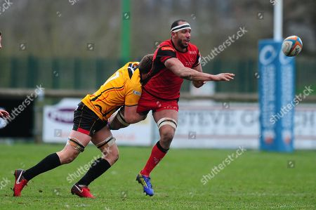 Joe Quinn of Hartpury is tackled by John Stevens of Cornish Pirates during the Greene King IPA Championship Match between Hartpury and Cornish Pirates at Gillmans Ground, Hartpurt, Gloucestershire on March 13.