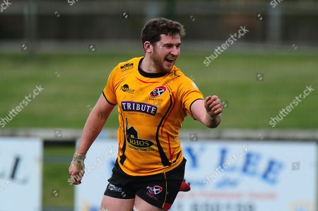 Try celebrations for John Stevens of Cornish Pirates during the Greene King IPA Championship Match between Hartpury and Cornish Pirates at Gillmans Ground, Hartpurt, Gloucestershire on March 13.
