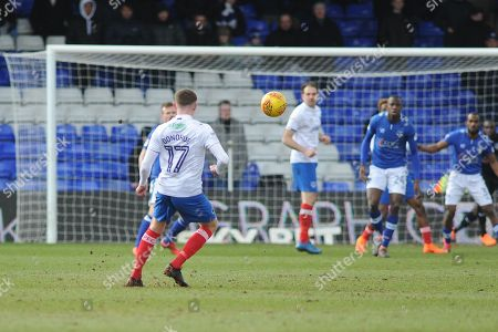 Portsmouth Midfielder, Dion Donohue (17) free kick during the EFL Sky Bet League 1 match between Oldham Athletic and Portsmouth at Boundary Park, Oldham. Picture by Mark Pollitt