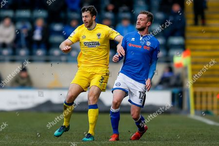 AFC Wimbledon defender Jonathan Meades (3) in action  during the EFL Sky Bet League 1 match between Rochdale and AFC Wimbledon at Spotland, Rochdale. Picture by Simon Davies