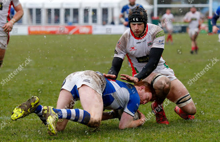 Tom Banks of Bishop's Stortford plants the ball before George Mills of Plymouth Albion can make the tackle during the National Division 1 match between Plymouth Albion v Bishop's Stortford at the Brickfields Recreation Ground, on March 17th 2018, Plymouth, Devon, UK.