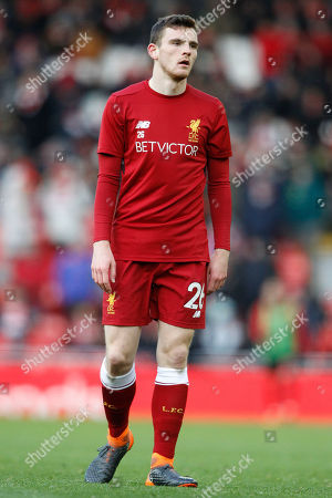 Liverpool defender Andrew Robertson (26) warming up during the Premier League match between Liverpool and Watford at Anfield, Liverpool. Picture by Craig Galloway