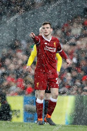 Liverpool defender Andrew Robertson (26)  during the Premier League match between Liverpool and Watford at Anfield, Liverpool. Picture by Craig Galloway