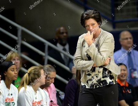 Miami head coach Megan Duffy looks worried as her team falls behind during the second half of a first-round game against Quinnipiac in the NCAA women's college basketball tournament in Storrs, Conn. . Quinnipiac won, 86-72