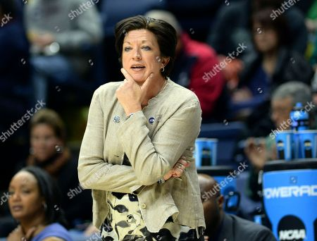 Miami head coach Megan Duffy watches from the sidelines during the second half of a first-round game against Quinnipiac in the NCAA women's college basketball tournament in Storrs, Conn. . Quinnipiac won, 86-72