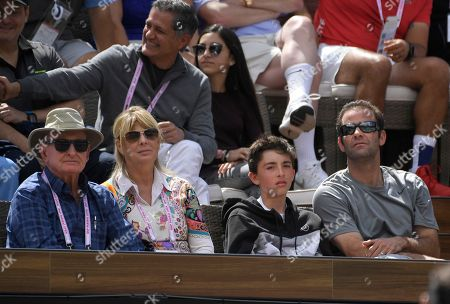 Rod Laver, Pete Sampras. Former tennis players Rod Laver, left, and Pete Sampras, right, watch a semifinals match between Roger Federer, of Switzerland, and Borna Coric, of Croatia, at the BNP Paribas Open tennis tournament, in Indian Wells, Calif