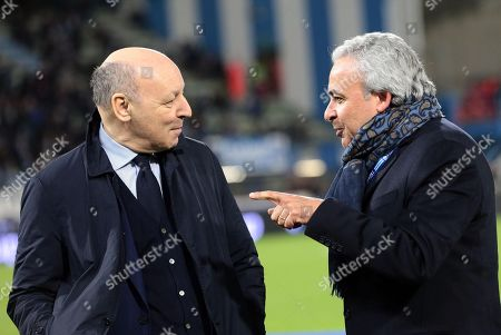 Spal's President Walter Mattioli (R) and Juventus' CEO Beppe Marotta before the Italian Serie A soccer match Spal 2013 vs Juventus FC at Paolo Mazza Stadium in Ferrara, Italy, 17 March 2018.
