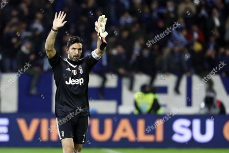 Stock Image of Juventus' Gigi Buffon waves to supporters at the end of the Italian Serie A soccer match Spal 2013 vs Juventus FC at Paolo Mazza Stadium in Ferrara, Italy, 17 March 2018.
