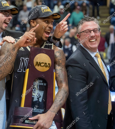 Deion Wells-Ross, Dale Wellman. Nebraska Wesleyan's Deion Wells-Ross, left, and coach Dale Wellman smile after the team's win over Wisconsin-Oshkosh in the NCAA men's Division III championship college basketball game at Salem Civic Center in Salem, Va., . Nebraska Wesleyan won 78-72