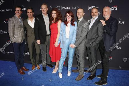 Sean Hayes, Megan Mullally, Eric McCormack and Debra Messing with Bob Greenblatt, David Kohan, Max Mutchnick and James Burrows