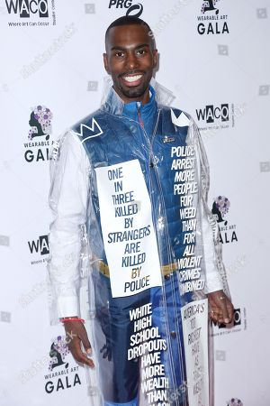 American activist DeRay Mckesson arrives at the 2nd Annual Wearable Art Gala at The Alexandria Ballrooms, in Los Angeles