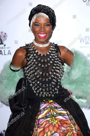 Veronika Bozeman arrives at the 2nd Annual Wearable Art Gala at The Alexandria Ballrooms, in Los Angeles