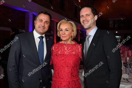 Xavier Bettel, Liz Mohn and Gauthier Destenay