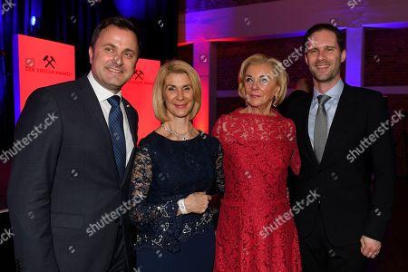 Xavier Bettel, Brigitte and Liz mohn and Gauthier Destenay