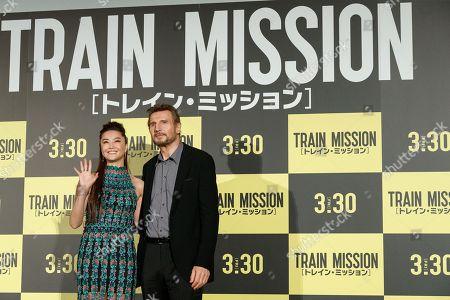 Stock Picture of (L to R) Alisa Mizuki and Liam Neeson
