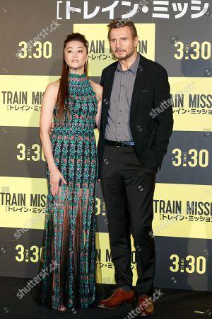 (L to R) Alisa Mizuki and Liam Neeson