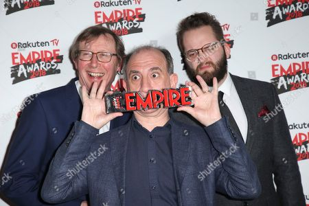 Kevin Loader, from left, Armando Iannucci and Peter Fellows with the award for Best Comedy for the film Death of Stalin at the Empire Film Awards in London