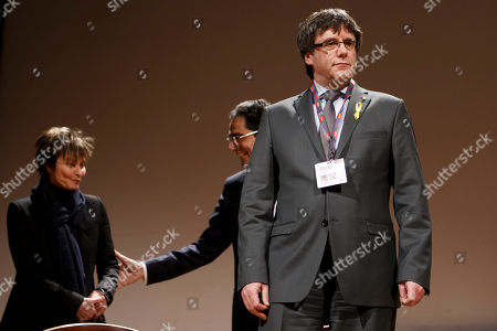 Carles Puigdemont, Micheline Calmy-Rey and Darius Rochebin