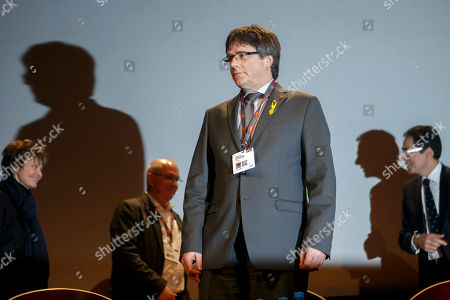 Stock Picture of Carles Puigdemont, Nicolas Levrat and Micheline Calmy-Rey