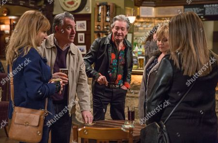 Ep 8102 Thursday 22 March 2018 - 1st Ep Brenda Hope, as played by Lesley Dunlop, enjoys stirring the pot between Laurel Thomas, as played by Charlotte Bellamy, and Bob Hope, as played by Tony Audenshaw, with Rodney Blackstock, as played by Patrick Mower.