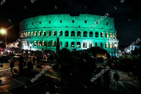The Colosseum lights up in green for the Saint Patrick Day