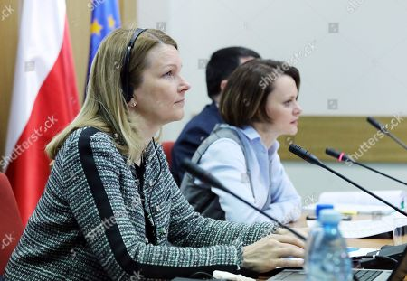 Stock Image of Polish Minister of Entrepreneurship and Technology Jadwiga Emilewicz (R) and Deputy Secretary-General of the OECD Mari Kiviniemi (L) during a press conference in Warsaw, Poland, 19 March 2018. The OECD report on the Polish economy was presented on the conference.