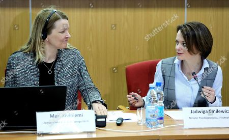 Stock Photo of Polish Minister of Entrepreneurship and Technology Jadwiga Emilewicz (R) and Deputy Secretary-General of the OECD Mari Kiviniemi (L) during a press conference in Warsaw, Poland, 19 March 2018. The OECD report on the Polish economy was presented on the conference.