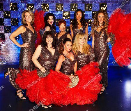 (l-r, backrow) Victoria Derbyshire, Sally Dexter,   Ruth Madoc, Sarah-Jane Crawford and Megan McKenna.  (l-r front row) Coleen Nolan, Michelle Heaton and Helen Lederer