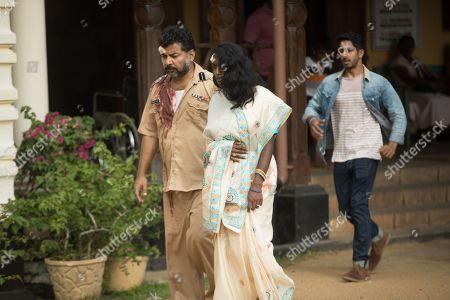 Stock Picture of Danish Husain as Sanjay, Anneika Rose as Neelam and Sagar Radia as AJ Nair