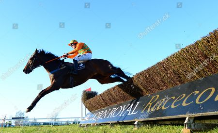 DOWN ROYAL. EDDIES MIRACLE and Barry O'Neill lands over the last fence to win for trainer David Christie.
