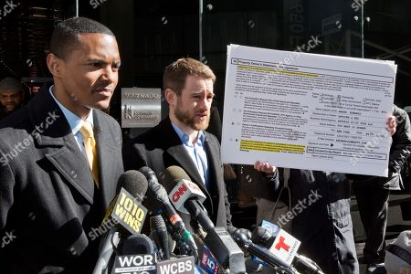 Richaie Torres, Aaron Carr. New York City Council Member Ritchie Torres, left, and Housing Rights Initiative Executive Director Aaron Carr address a news conference outside Kushner Companies headquarters, in New York, . The pair called for an investigation into a report by AP and a tenants' rights watchdog that Jared Kushner's family real estate company routinely filed false paperwork declaring it had zero rent-regulated tenants in dozens of buildings it owned in New York when it actually had hundreds