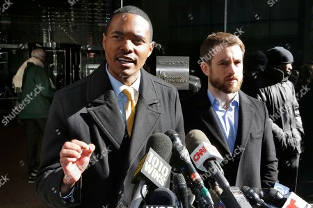 Stock Picture of Richaie Torres, Aaron Carr. New York City Council Member Ritchie Torres, left, and Housing Rights Initiative Executive Director Aaron Carr address a news conference outside Kushner Companies headquarters, in New York, . The pair called for an investigation into a report by AP and a tenants' rights watchdog that Jared Kushner's family real estate company routinely filed false paperwork declaring it had zero rent-regulated tenants in dozens of buildings it owned in New York when it actually had hundreds
