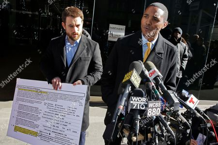 Richaie Torres, Aaron Carr. New York City Council Member Ritchie Torres, right, and Housing Rights Initiative Executive Director Aaron Carr address a news conference outside Kushner Companies headquarters, in New York, . The pair called for an investigation into a report by AP and a tenants' rights watchdog that Jared Kushner's family real estate company routinely filed false paperwork declaring it had zero rent-regulated tenants in dozens of buildings it owned in New York when it actually had hundreds