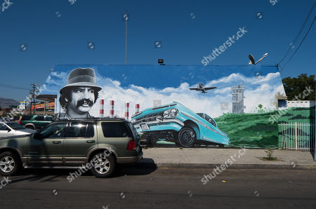 View of celebrity wall mural showing Cheech Marin in Los Angeles