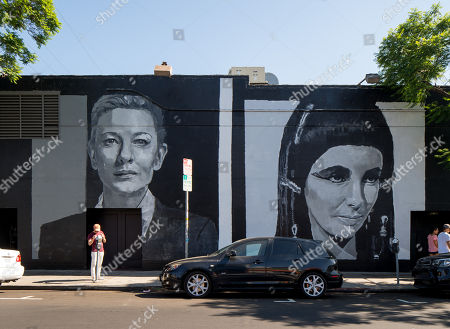 View of celebrity wall mural showing Cate Blanchett and Elizabeth Taylor, in Los Angeles