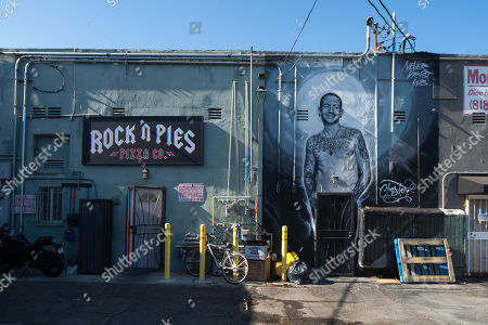 View of celebrity wall mural showing Chester Bennington in Los Angeles