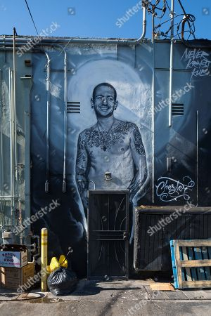 Stock Picture of View of celebrity wall mural showing Chester Bennington in Los Angeles