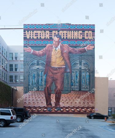 View of celebrity wall mural showing Anthony Quinn in Los Angeles