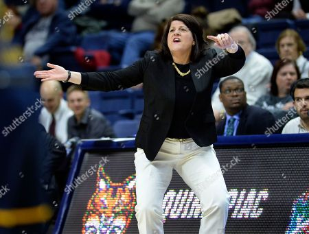 Miami head coach Megan Duffy directs from the sidelines during the second half of a first-round game in the NCAA women's college basketball tournament in Storrs, Conn. . Quinnipiac won, 86-72